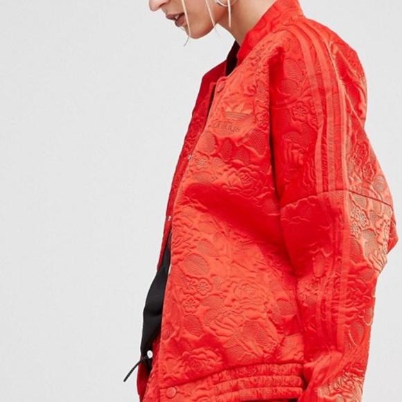 aa1aee57a197 adidas Jackets   Blazers - RED ADIDAS BONDED LACE OVERSIZED BOMBER JACKET
